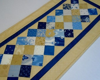 Quilted Table Runner in Gold and Blue, Quilted Table Topper, Patchwork Table Runner, Table Quilt, Coffee Table Runner, Chambray Blue Quilt