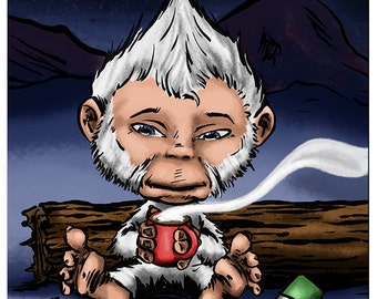 Yeti DapperKins Holiday Card - Krampus and Cthulhu's Christmas Collection 2016 - Sasquatch