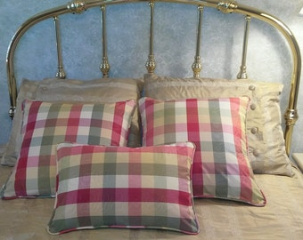 Mad for Plaid? Accent Pillows  20 x 20 and 14 x 20 inches, multi-color