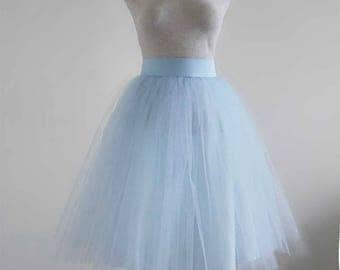 Sky blue Tulle skirt . Tulle skirt . Tea length skirt. Women tulle skirt