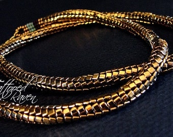 Dragon Gold Slinky Beaded Rope Necklace