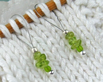 Stitch Markers, Knitting, Peridot, Semi-Precious Stones, Snag Free, Lime Green, Knitters Gift, Jeweled Tool, Knitting Accessory, Supplies