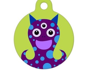 Pet ID Tag - Three Eyed Monster Pet Tag, Dog Tag, Cat Tag, Luggage Tag, Child ID Tag