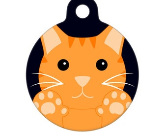 Pet ID Tag - Orange Tiger Kitty with Double Paws Cat Pet Tag, Dog Tag, Cat Tag
