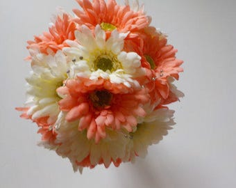 Gerbera Daisy Wedding Bouquet, Silk Wedding Bouquet, Gerbera Daisies, Coral Gerbera Daisies, Wedding Floral Package