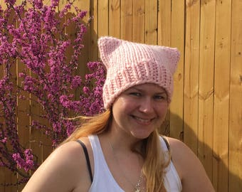 Pussy Hat Project Light Pink Chunky Knit Hat