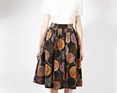 1950s novelty skirt 1950 printed skirt 50s midi skirt 50s pleated skirt Japanese print skirt Skirt with pockets Plus size skirt Skirt petite