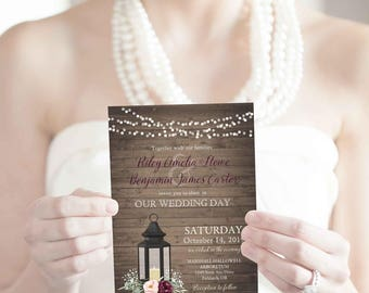 Rustic Wedding Invitation Set Metal Lantern Country Wedding Invitations Suite Wine Burgundy Blush Flowers plus RSVP cards Digital Printable