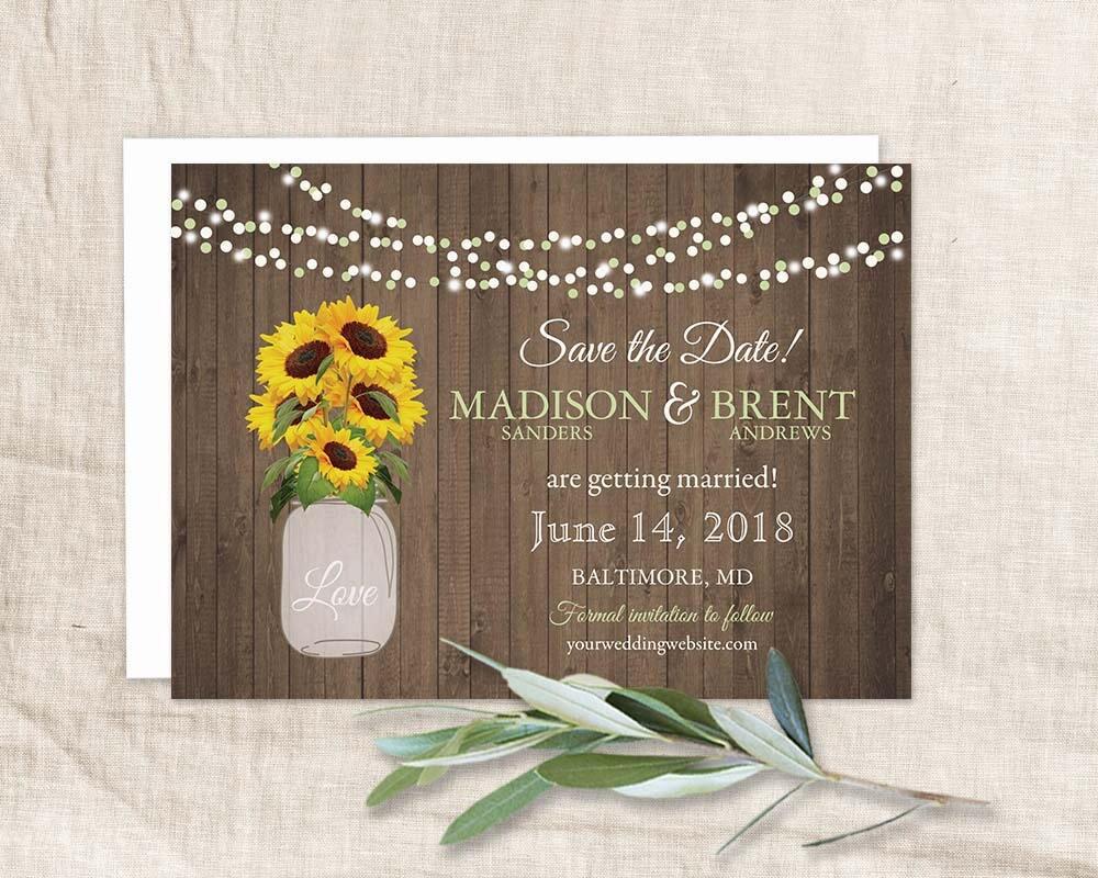 sunflower save the date cards rustic mason jar barn wood