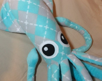 Andi the Large Grey and Blue Argyle Fleece Squid - Ocean Marine Stuffed Animal Plush
