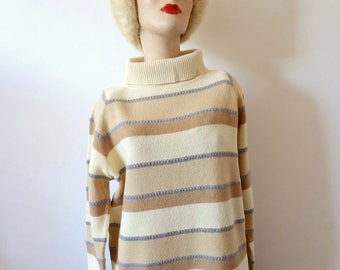 1960s Wool Sweater vintage camel hair striped mod funnel neck pullover
