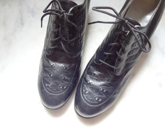 Vintage 1930s-40s Dress Shoes - black chunky heel oxfords women's size 8AA