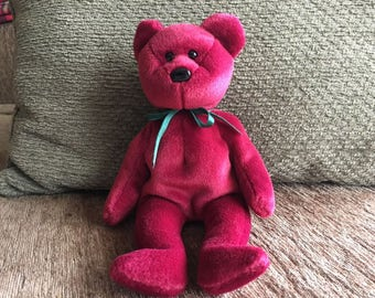 Ty Beanie Baby Teddy Cranberry New Face-Rare