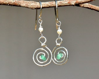 Reserved- Silver Earrings. Spiral Earrings. Silver Jewelry. Sterling Silver Earrings with Pearls and Aventurine Beads. Free Shipping. Israel