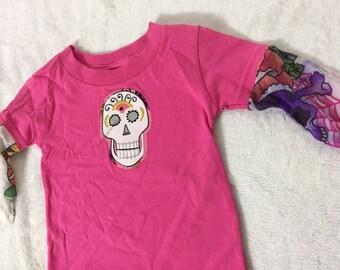 Sugar Skull girls tattoo shirt- 6 months