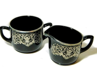 Black Glass Creamer and Sugar Bowl with Sterling Silver Overlay