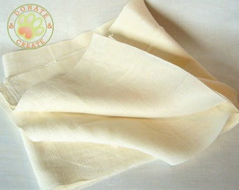 Pure linen remnants sale! European linen flax out cuts for DIY crafts; Heavy off-white basket weave linen