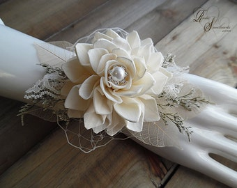 Will Ship in 5 days ~~~ Bridal Sola Flower Wrist Corsage, for the Bride, MOB, MOG, MOH, Bridesmaid, Flowergirl