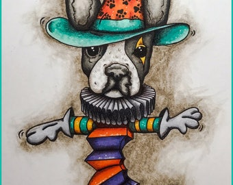 Boston Terrier-in-a-Box, whimsical & quirky digi stamp of a Boston Terrier dog Jack-in-a-Box - Release Sale Price until 5/11