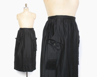 Vintage EDWARDIAN Skirt / 1910s Teens Black Polished Cotton Walking Suit Skirt L