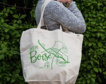Boise Map Screen Printed Tote Bag, Large heavy duty canvas bag