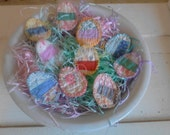 Set of 10 small vintage quilt Easter egg gift tags, easter ornaments, bowl filler, Easter decor, cottage decor,