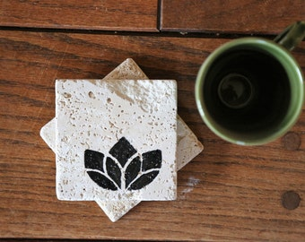 Simple Lotus Flower Coaster Set, Yoga Yogi Natural Tumbled Marble Rustic Coasters Set of TWO 4x4 Handmade Rustic Home Decor Shabby Chic Gift