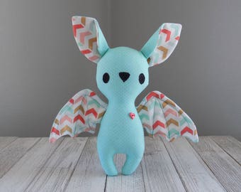 Bat stuffed animal, bat stuffed toy in teal with chevrons, cute bat, kawaii plushie, unique stuffed animal, bat collector gift