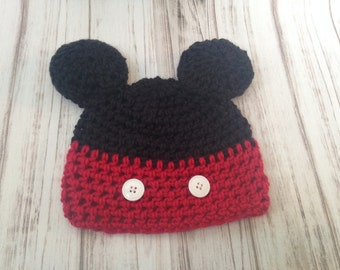 Mickey Hat 6 to 12 months, Ready to ship, photography prop, mouse hat, ears hat, cartoon hat