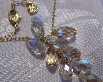 Vintage necklace, signed Swarovski with swan tag Austrian crystal pendant necklace, designer necklace