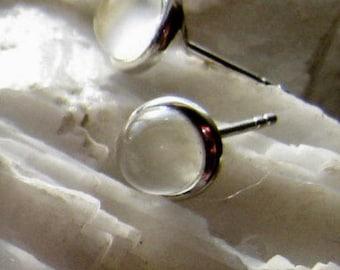 Glowing White Moonstone Stud Earrings 6mm round Sterling Silver Cats eye effect post back handmade fine jewelry