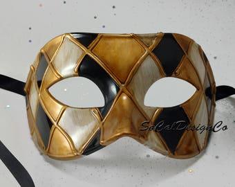 Gold Masquerade Mask, Mens Masquerade Mask, Masquerade Mask Men, Mens Mask, Black Masquerade, Mask, Masquerade Masks, Venetian Mask