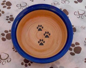 Paw Print Bowl in Dark Blue & Tan (Medium)