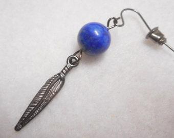 Men's Earring, Man's Earring, Single Earring, Stone Earring, Feather Earring, Men's Jewelry, Handmade Earring, Rocker Earring, Basic Earring