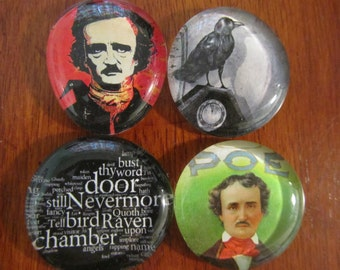 EDGAR ALLAN POE The Raven Magnets Set of 4 Glass Bubble Magnets