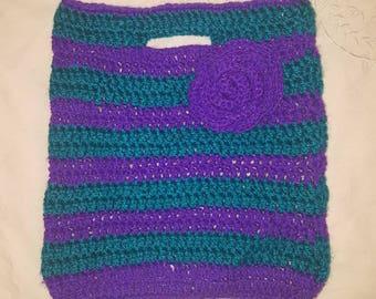 Glitter wool crochet teal purple small handbag with flower detail bag summer daisy
