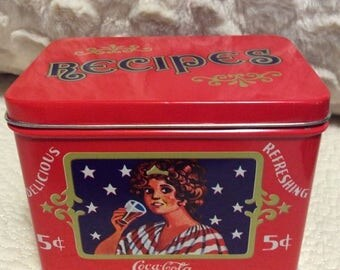 MOTHERS DAY SALE Vintage Coke Recipe Tin Container Coca Cola Pop Red Black Americana Advertising