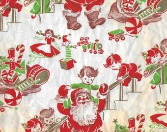 Vintage Mid Century Unused Christmas Gift Wrapping Paper - Santa