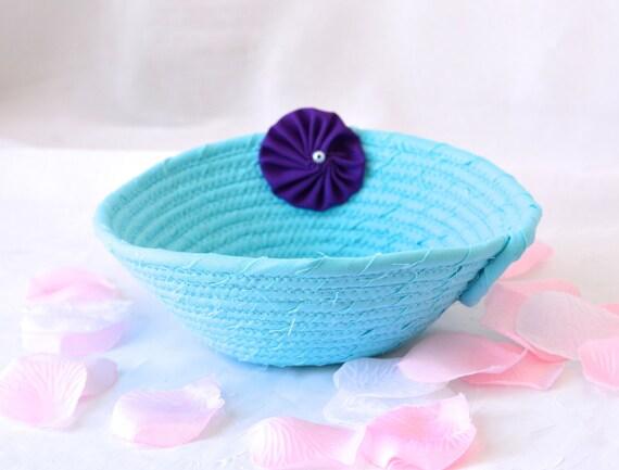 Blue Gift Basket, Handmade Blue Wedding Card Basket,  Blue Wedding Decor, Bridal Shower Gift, Bahama Blue Gift Basket