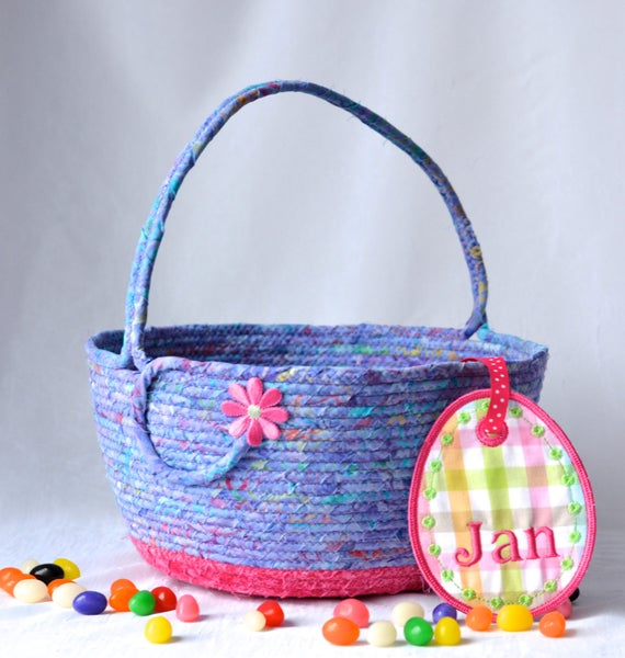 Flower Girl Basket, Handmade Girl Easter Basket, Lavender Easter Decoration, Lovely Girl Hair Tie Holder, Pretty Batik Fiber Basket