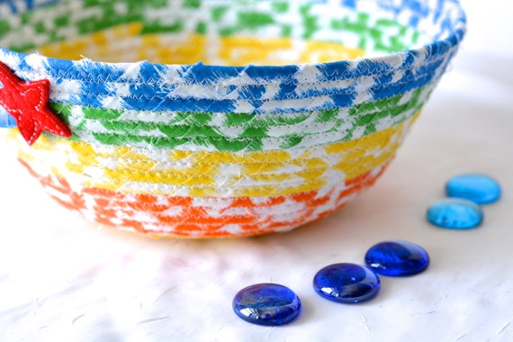 Handmade Rainbow Basket, Hand Coiled Fabric Basket, Cute Crayon Bowl, Modern Key Bowl, Mail Bin Organizer, Boy Room Decoration