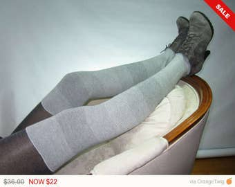 Sale -  Cashmere Blend Thigh High Boot Socks Gray Leg Warmers Grey Over the Knee Socks A1844