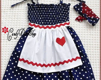 Lucille Ball inspired Dress for little girls, Girls navy apron dress, Lucille Ball inspired dress and matching  headband, CandydressShop