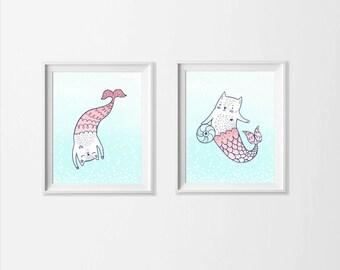 Mermaid Nursery Art Kittens with Initial Art Print Set of 2, Pastel Mermaid Nursery Art, Beach Sea Girl Room Toddler Art Cats, Navy Coral