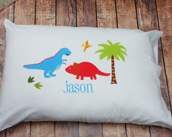 Personalized Kids Pillowcase DINOSAUR Pillowcase  Boys Pillowcase Boys Bedding