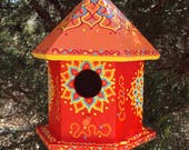 Red with Orange Hand Painted Birdhouse Decorative Floral Designs Whimsical Doodles and Dots Yellow Orange and Blue Accent Colors Rope