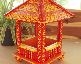 Decorative Birdhouse or Birdfeeder Gazebo Style Hand Painted Whimsical Red Yellow and Orange Doodles and Dots Home Decor Tabletop Decor