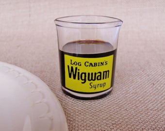 Log Cabin Wigwam Syrup Individual Glass Server Restaurant Ware Diner Coffee Shop Vintage Advertising