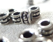 50pc - 6mm Silver Rondell Beaded Antiqued Spacer Beads, 6mm x 4mm, 3mm hole, pkg 50 pieces