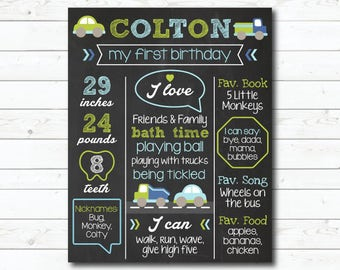 First Birthday Chalkboard Poster Sign, Baby Boy Transportation, Trucks, Cars, 1st Birthday Chalk Board, Personalized Printable File